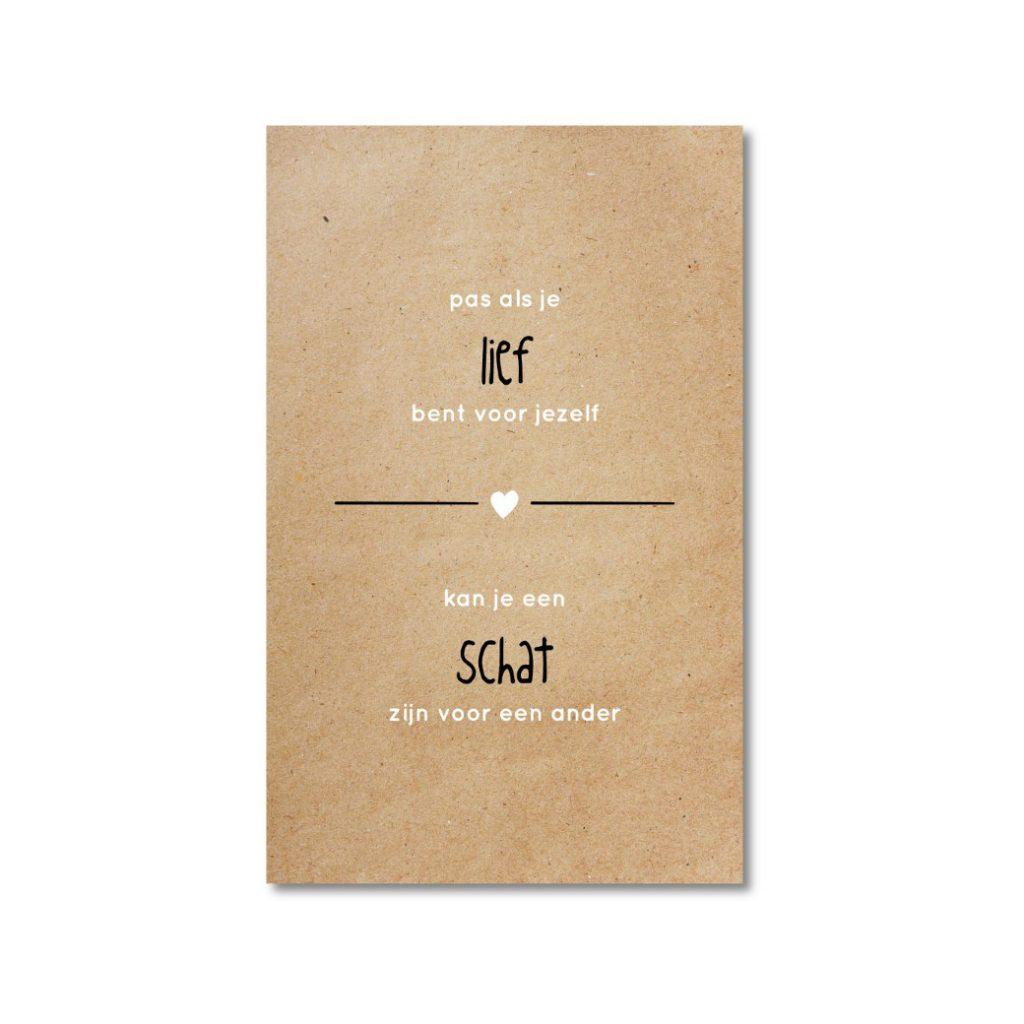 ZINVOL kaart - Pas als je lief bent voor jezelf kun je een schat zijn voor de ander -