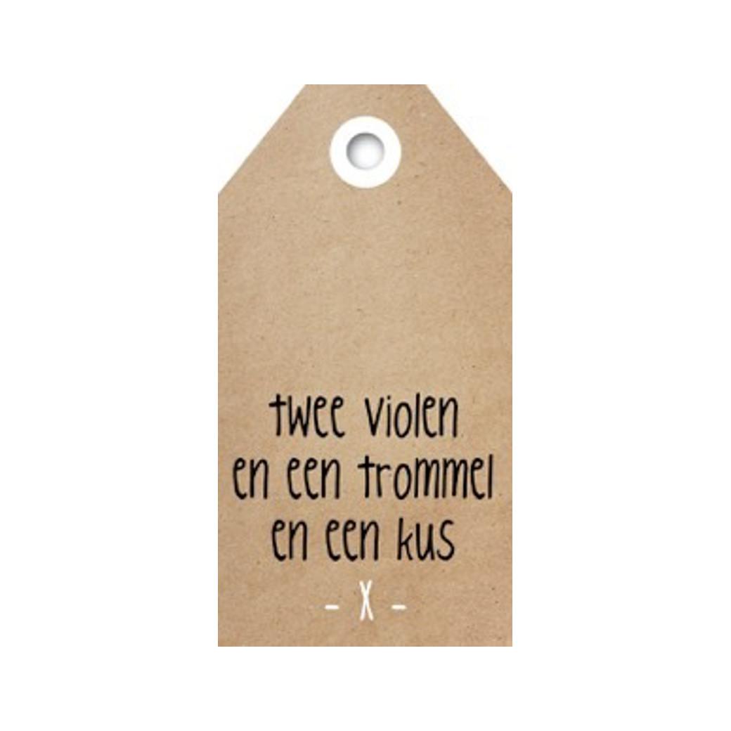 ZINVOL kadokaart - Twee violen en een trommel en een kus -