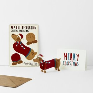Pop out card Company - Christmas Sausage dog -